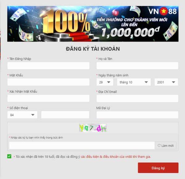 đăng ký tài khoản tại VN88